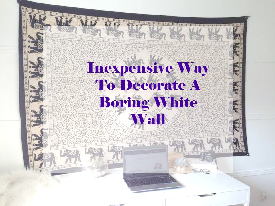 Inexpensive way to decorate a boring white wall with a tapestry - Cheap easy ways decorate bathroom ...